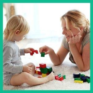 mom playing blocks